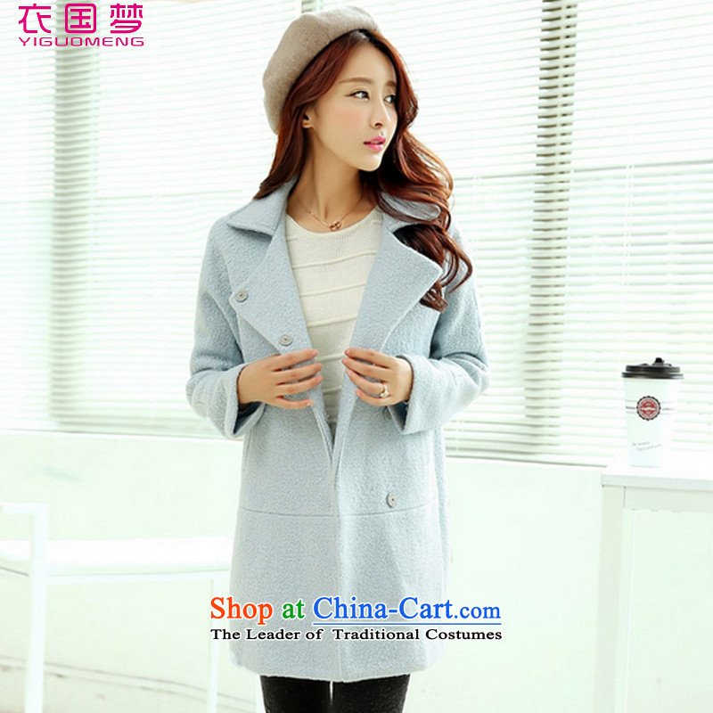 Yi power dream girl 2015 Autumn coat? for women for winter new Korean version in long hair Sau San? jacket female 1019 light blue M120-135 catty