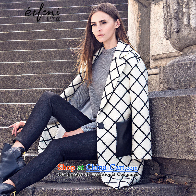 El Boothroyd 2015 winter clothing new products Korean grid? butted long hair)? Coats the whiteM female 6580957516