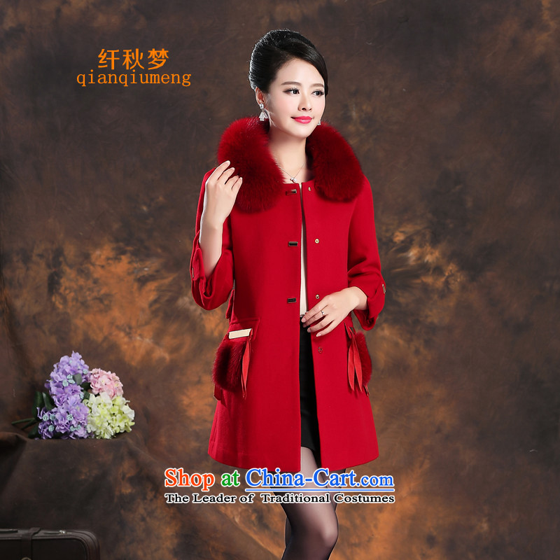 The former Yugoslavia autumn dreams 2015 new women's winter Western Wind stylish commuter wild video thin-sided flannel long long-sleeved wool cashmere overcoat female 7-842? large red L