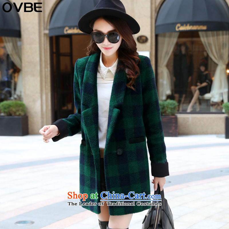 2015 winter clothing new OVBE, Korean fashion lapel latticed Sau San Mao? wild in temperament coats long jacket, Female Green Grid M