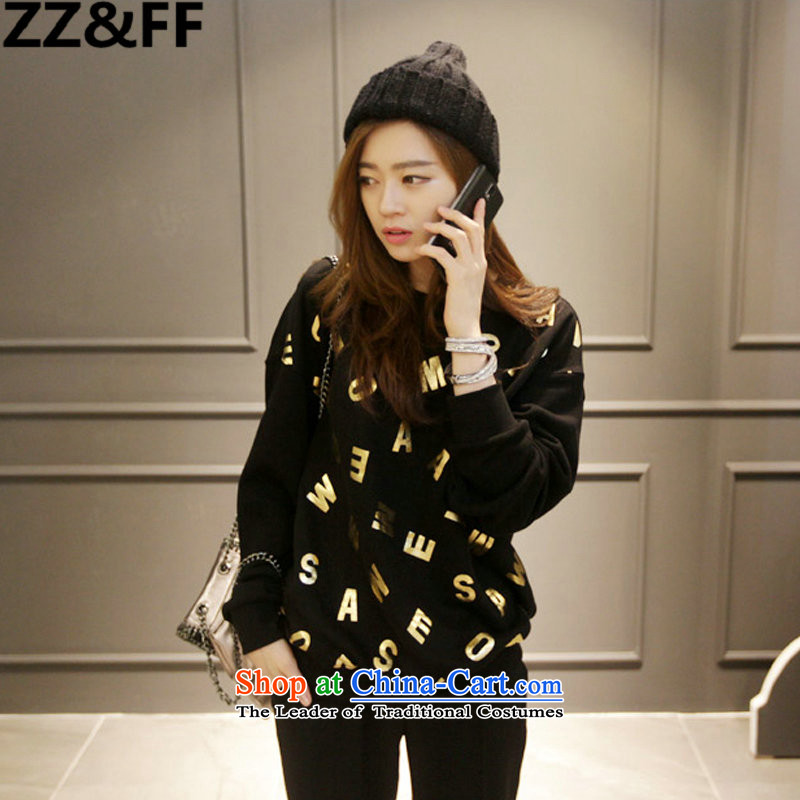 The new 2015 Zz_ff to xl autumn and winter female thick MM200 catty letters forming the shirt sweater stamp T-shirt燲XXXXL black