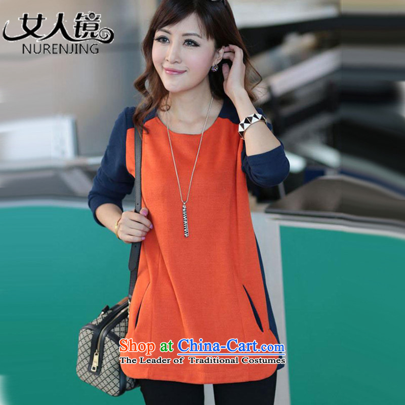 Woman mirror the new maximum 2015 autumn in the long autumn and winter clothes, forming the long-sleeved #N8961 relaxd clothes 3XL orange