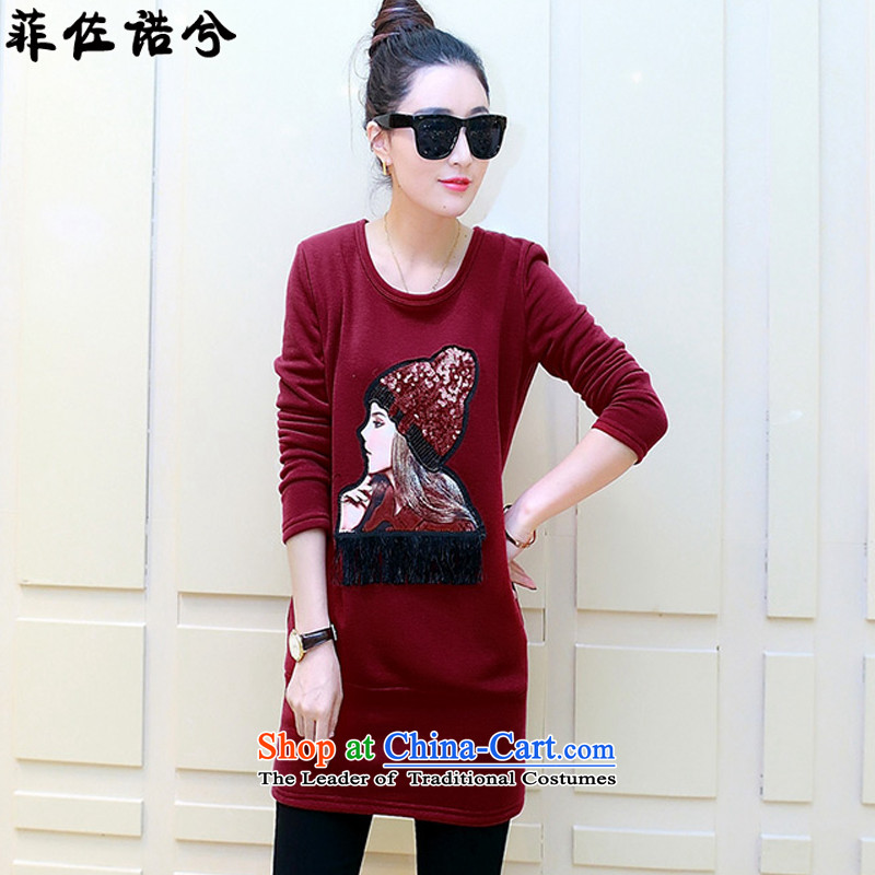 The officials of the fuseau larger female Autumn and Winter Sweater thickened the lint-free thick mm to xl girls avatar jacket XXXL wine red