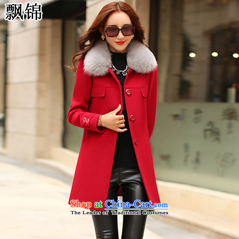 Piao Kam autumn and winter 2015 new Korean Sau San? coats that long hair? coats female red 8202 L