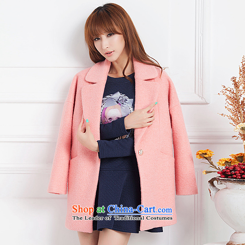 Diana's winter clothing new woolen coat girl in gross long thickened? Pink Connie sub female larger cocoon loose-cashmere a jacket Ms. pink燣