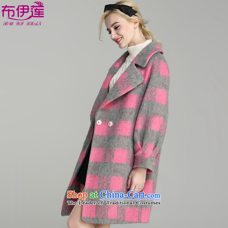 Buie Lin�15 autumn and winter new Korean Modern graphics in wild thin long long-sleeved jacket coat? female wool pink燤