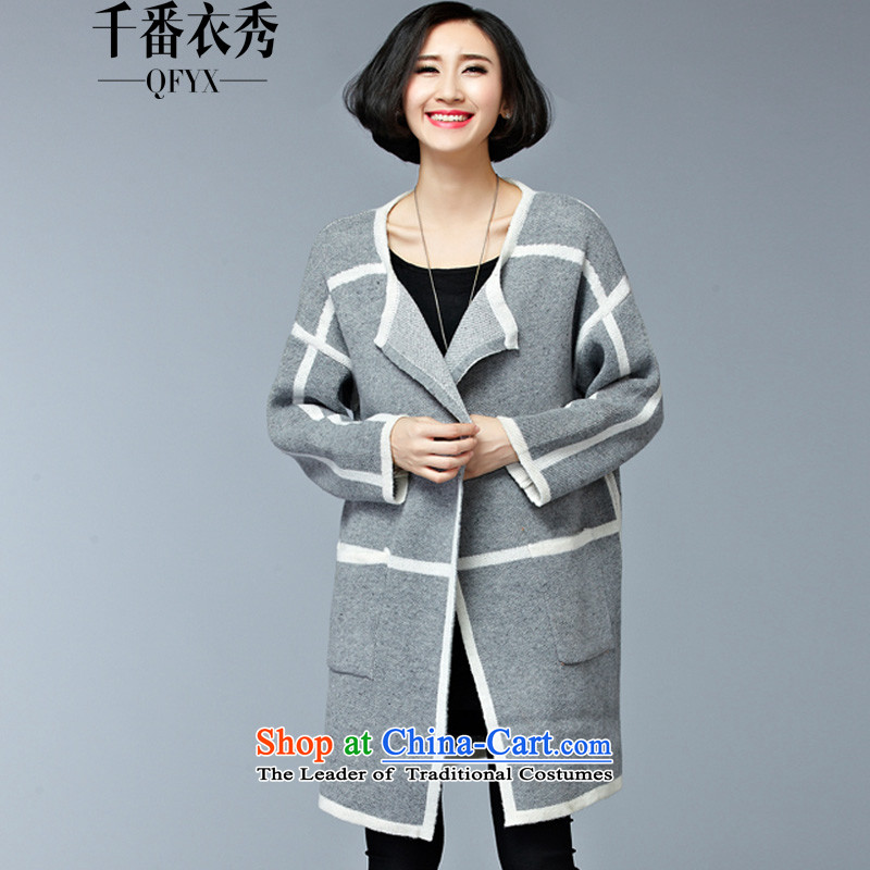 Double Chin Yi Su-large autumn and winter of ladies' knitted shirts coats female thick mm to increase female ZM7600 sweater jacket gray are code