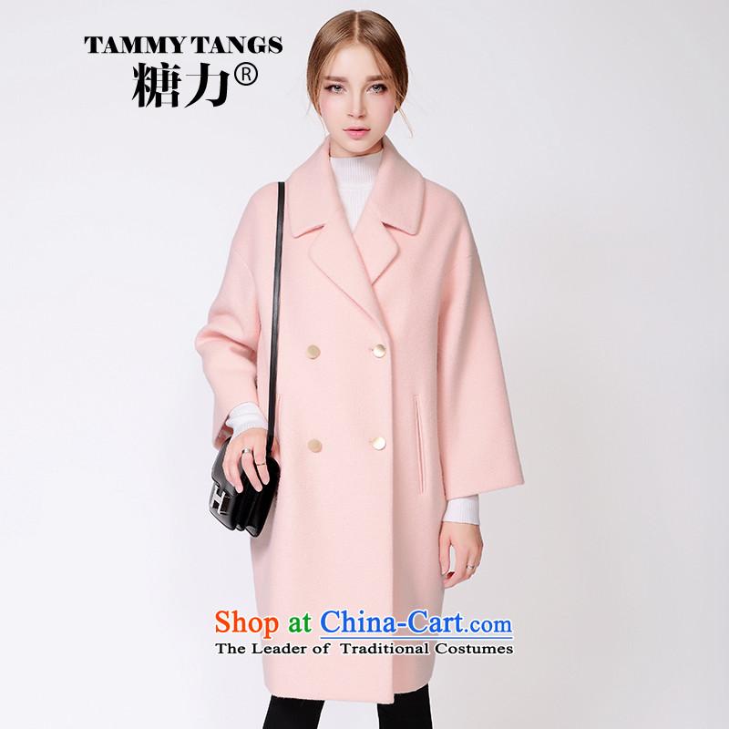 In2015 winter sugar new European site pink double-reverse collar long Fleece Jacket coat 藌 gross? lip powder (pre-sale 5 December shipment) XS