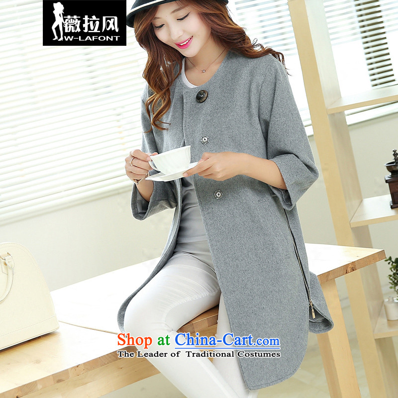 Vera wind 2015 autumn and winter new Korean version of large numbers of ladies loose video thin round-neck collar coats jacket in gross? long gray female M