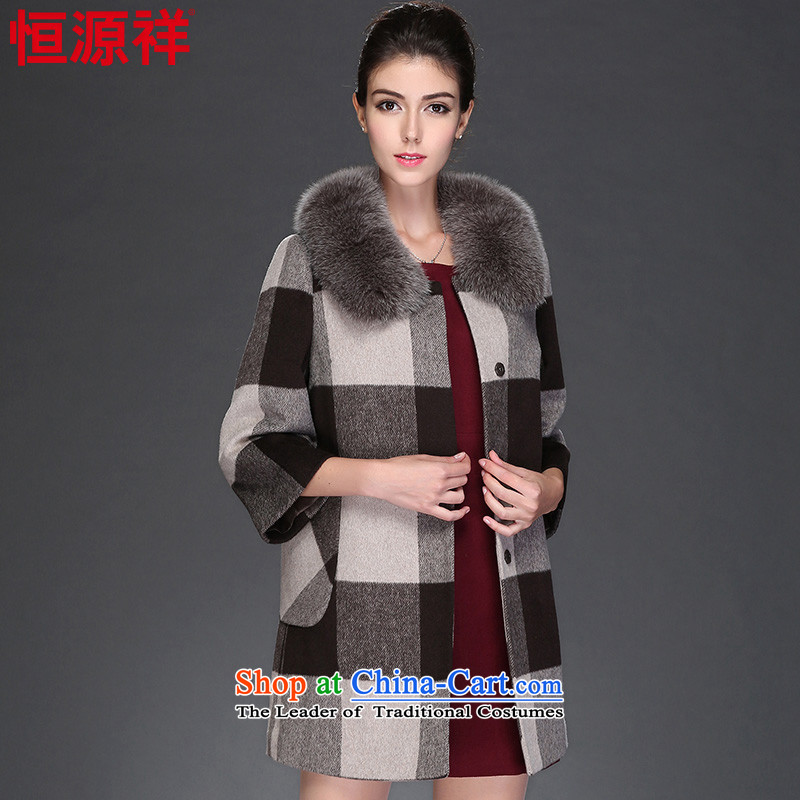 Hengyuan Cheung 2015 autumn and winter woolen coat a jacket compartments in Sau San long, Ms. Gross Gross for 8946 fox? No. 1 coffee165/88A(L)