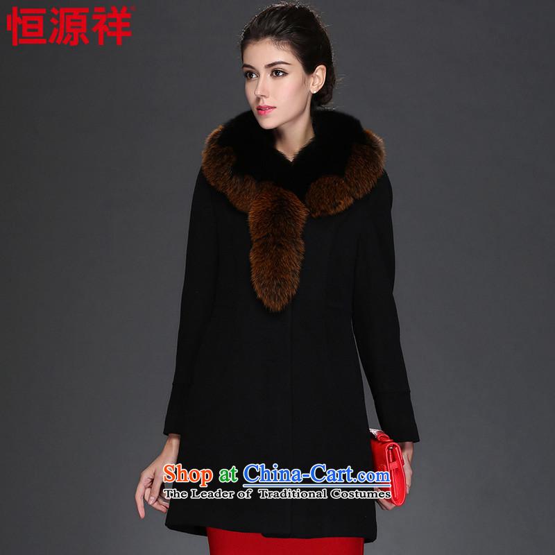 Hengyuan Cheung 2015 autumn and winter coats, wool a medium to long term gross?   luxurious nagymaros for coat 8947 No. 1 black175_96A_XXL_