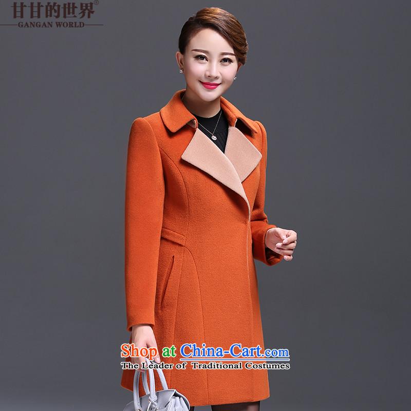 Gangan world gross girls jacket? long winter 2015 Sau San new coats girl? gross Yellow燤