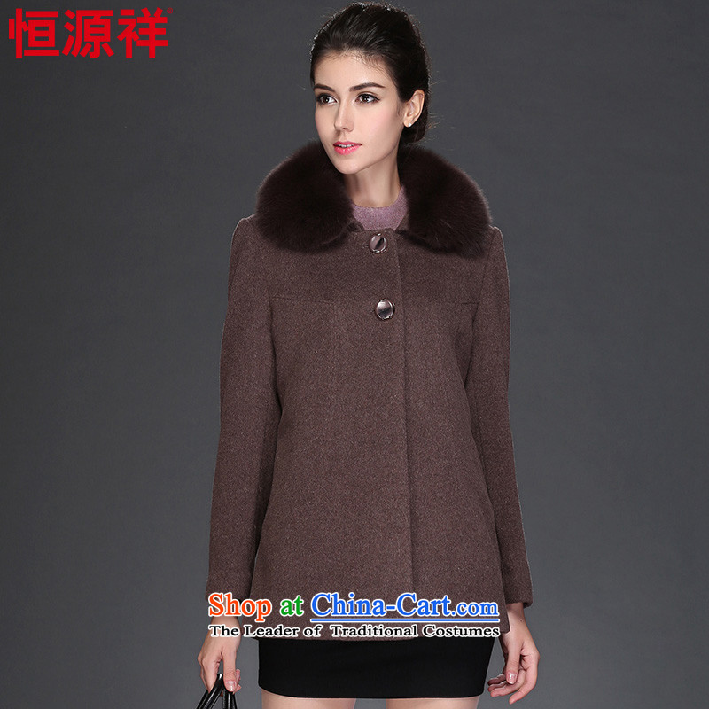 Hengyuan Cheung 2015 autumn and winter coats, wool a short of the amount? jacket for the middle-aged   Fox Gross 8948 female 3 mixed gray lady?185_104A_4XL_