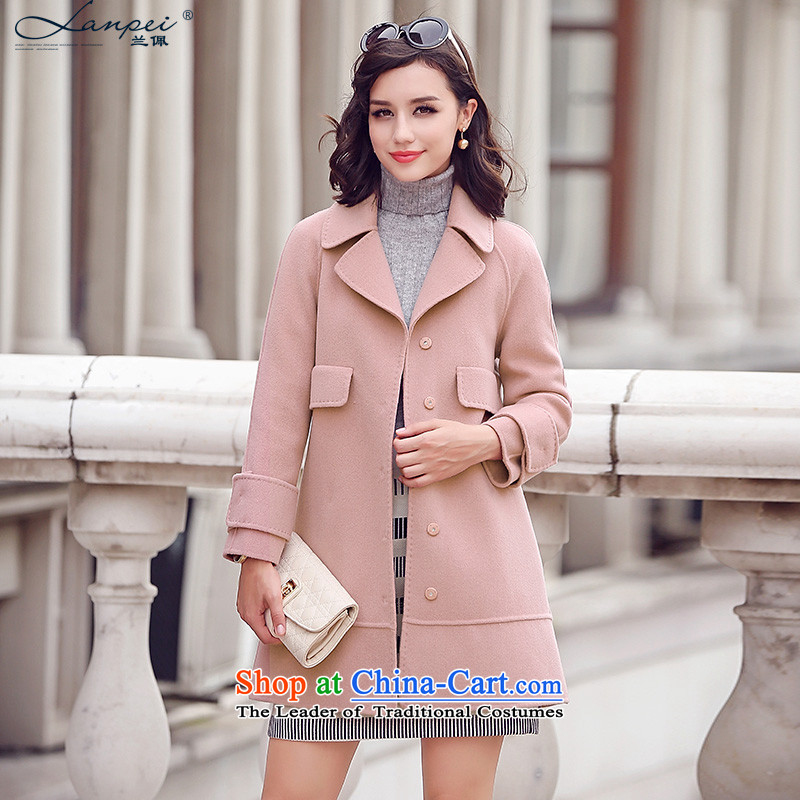 Ho Pui 2015 autumn and winter new manual two-sided lint-free girls woolen coat long hair? female leather jacket pink燬