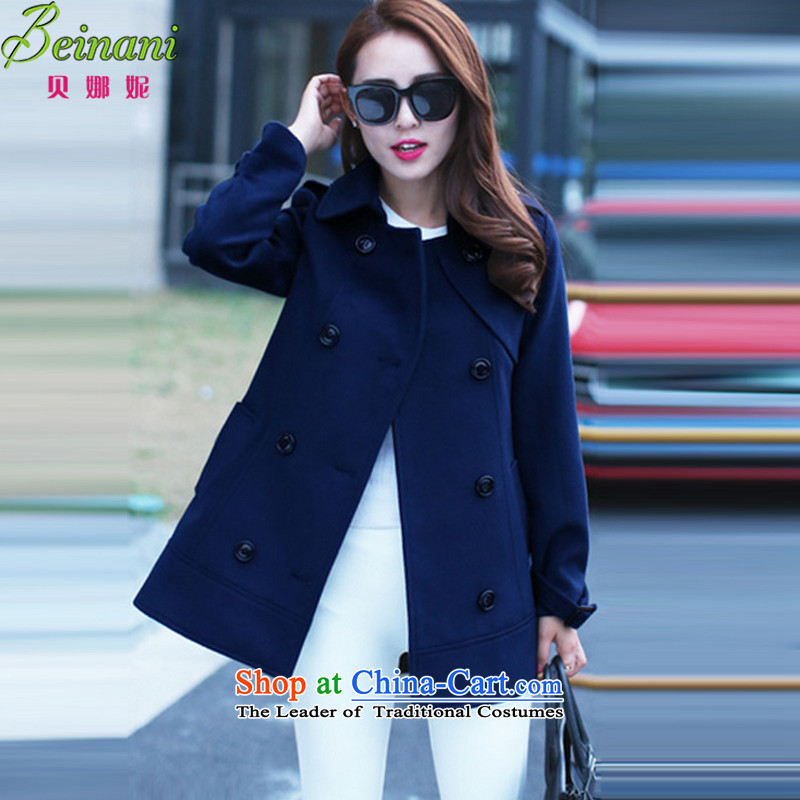 Addis Ababa her 2015 autumn and winter new mm thick hair? jacket to xl female cloak-windbreaker a wool coat 512 dark blue XXXL160-175 catty
