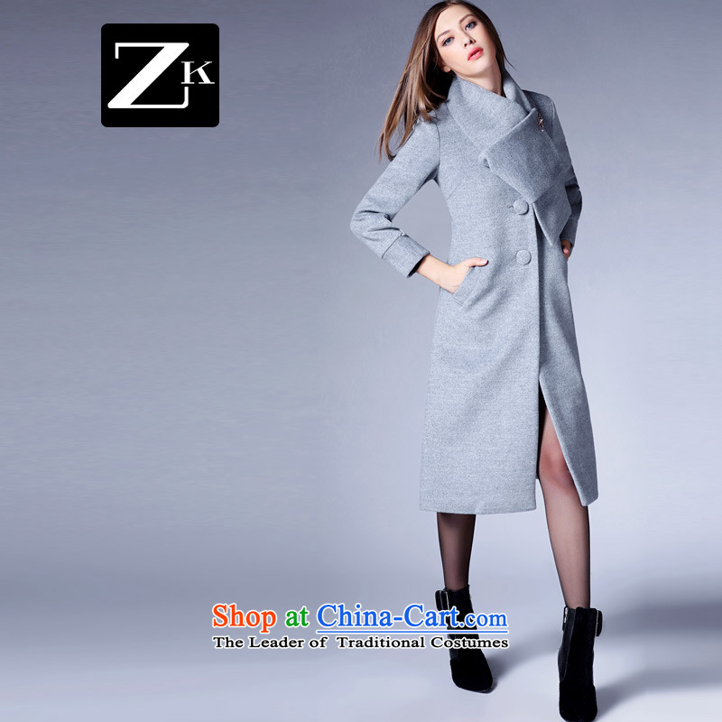 Zk Western women?2015 Fall_Winter Collections New pure colors for gross? jacket scarf female long Sau San a wool coat Gray?L