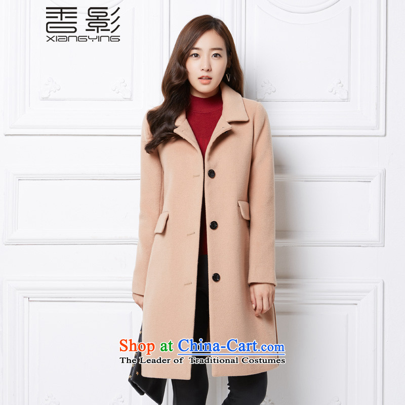 Heung woolen coats? 2015 shadow of winter clothing new single row detained lapel jacket in gross? long wave and ColorM _