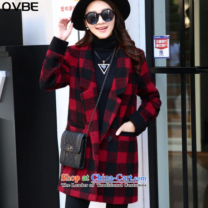2015 winter clothing new OVBE, Korean fashion lapel latticed Sau San Mao? wild in temperament coats long jacket, Female Red Grid聽XL