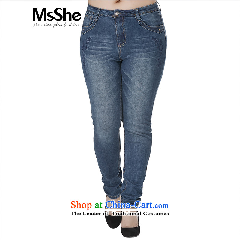Msshe xl women 2015 new autumn and winter in sister waist embroidery thick castor trousers cowboy trousers 4829th Denim blue燭3