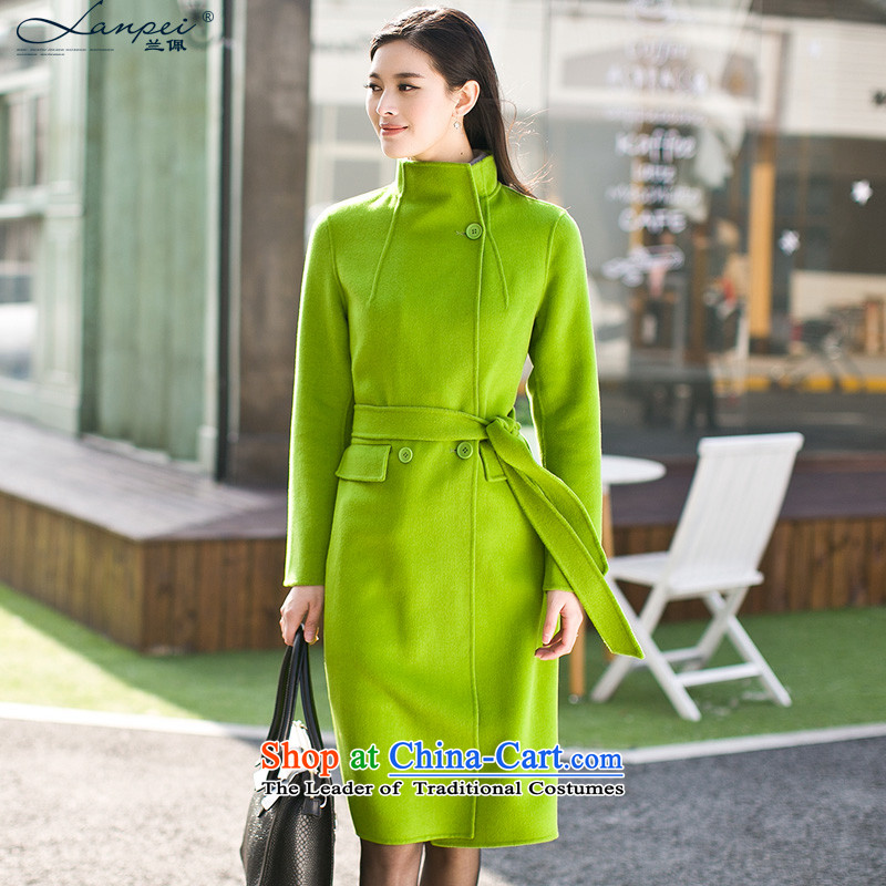 Ho Pui 2015 autumn and winter new sided flannel woolen coat in the long hair? a wool coat female coats jacket green聽M