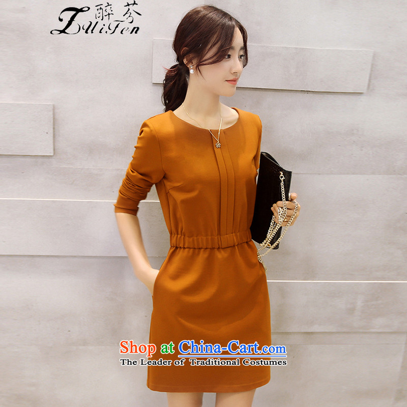 Zui fen�15 Fall_Winter Collections new fat mm to intensify the elegant graphics thin solid color pocket dresses larger Women�07燼nd color 3104 XL