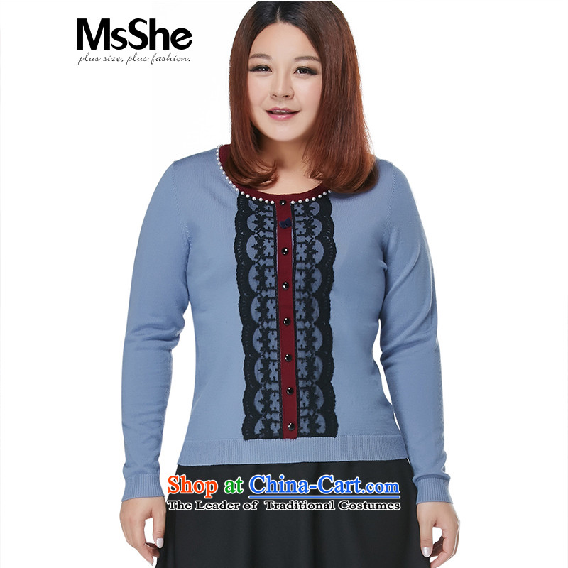 Msshe xl women 2015 new autumn and winter 200 catties knocked color lace stitching sweater pullovers 10640 gray-blue聽4XL