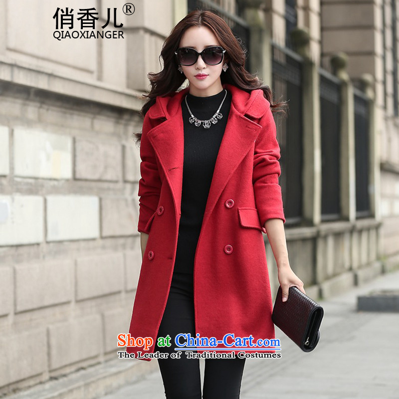 For燼utumn and winter 2015-heung-new ladies hair? Jacket Korean fashion, double-Nagymaros Case for Video thin temperament. Long hair? overcoat female RED燤