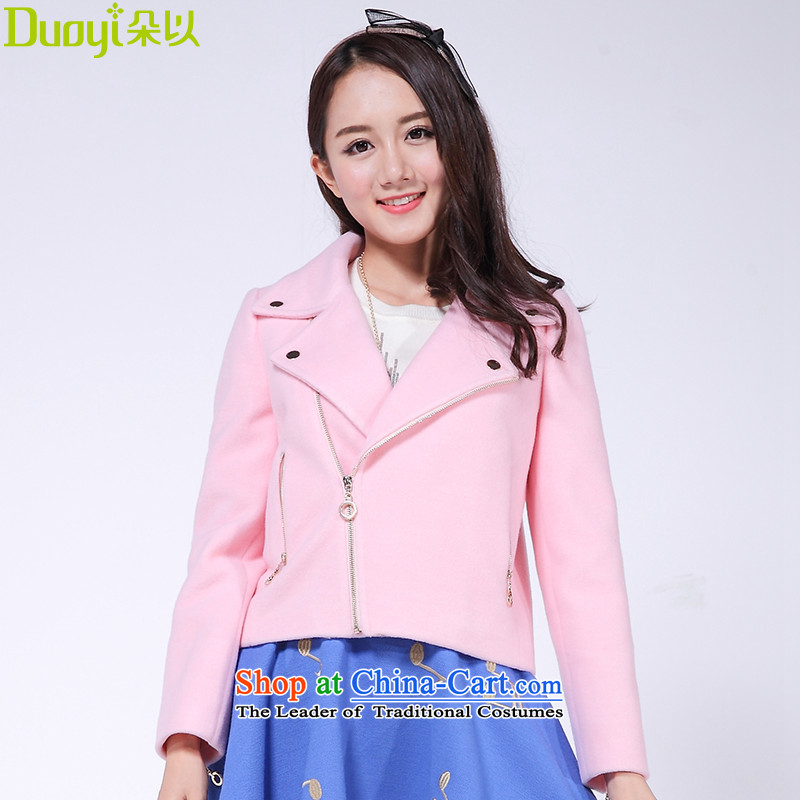 In 2015 winter flower new a wool coat Korean Sau San video gross is short thin coat female 30VD43509 pink聽L