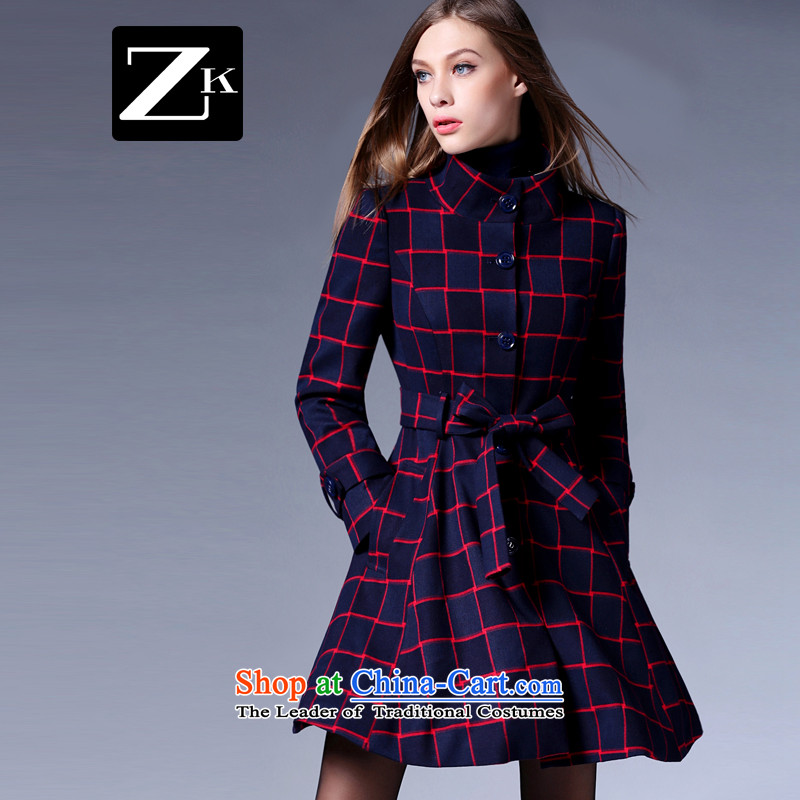 Zk Western women21015, Battawin autumn new grid gross? jacket, girls in long stylish collar Sau San a wool coat latticesL