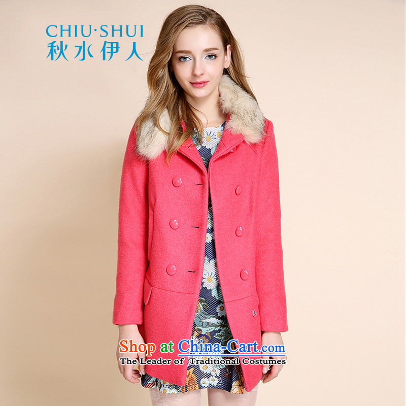 Chaplain who winter campaign for women of the new sub-gross minimalist collar and pure colors in the long hair? plum165/88A/L Coats