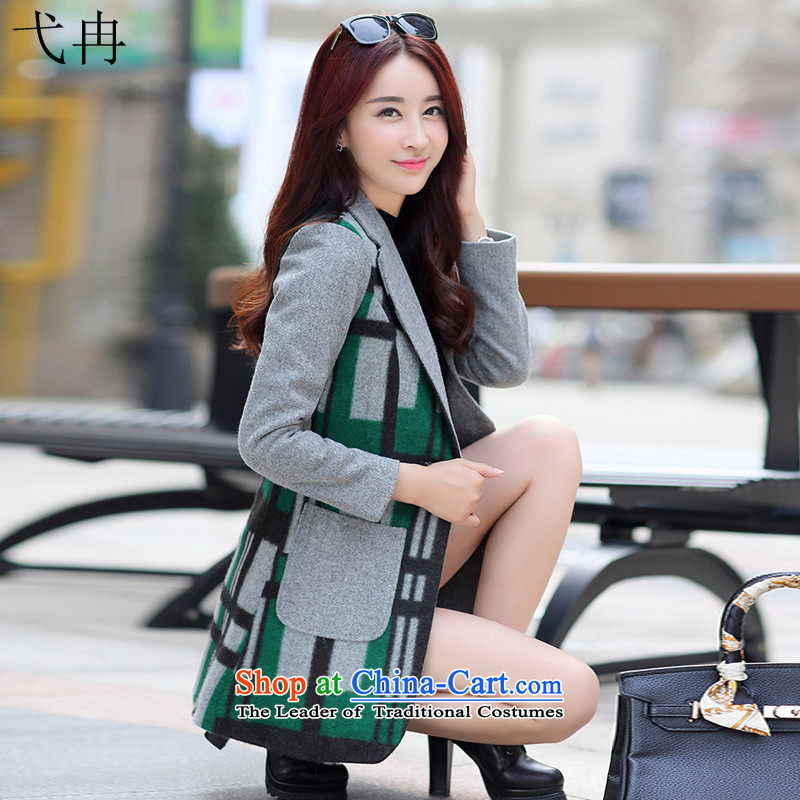 Cruise in the autumn and winter 2015 advanced new for women in the Korean version of the Sau San long coats N460 latticed gross? green XL