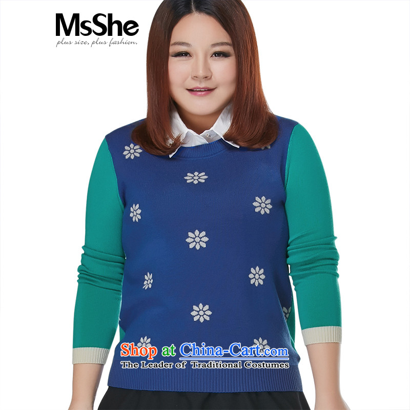 To increase the number msshe women 2015 new autumn and winter jacquard round-neck collar kit and knitwear sweater 8,605 Blue聽4XL