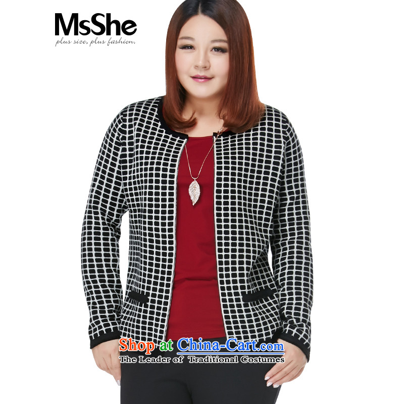 Msshe xl women 2015 new autumn and winter Fat MM grid jacquard knitting cardigan sweater 8407 Black 2XL