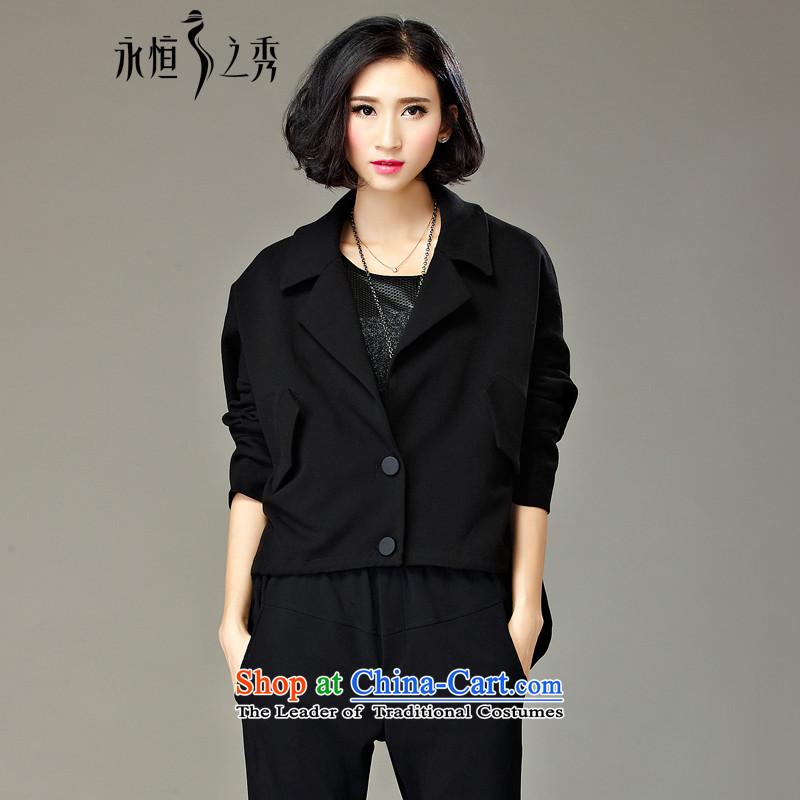 The Eternal Soo-To increase the number of female jackets of autumn and winter 2015 new 200 catties thick, Hin thin, stylish sister Ms. MM thick winter clothing聽3XL black jacket