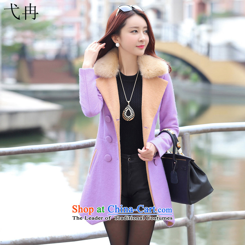Cruise in the autumn and winter 2015 advanced new women in Korean long hair Sau San? N461 coats light purple燣