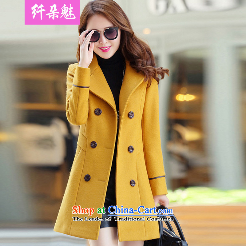Small Flower of 2015 autumn and winter coats gross New girl? long jacket female _N1011 Sau San Yellow   XL