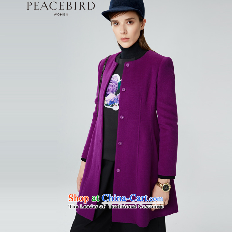 Women Peacebird 2015 new products for winter coats A1AA44430 round-neck collar purple L