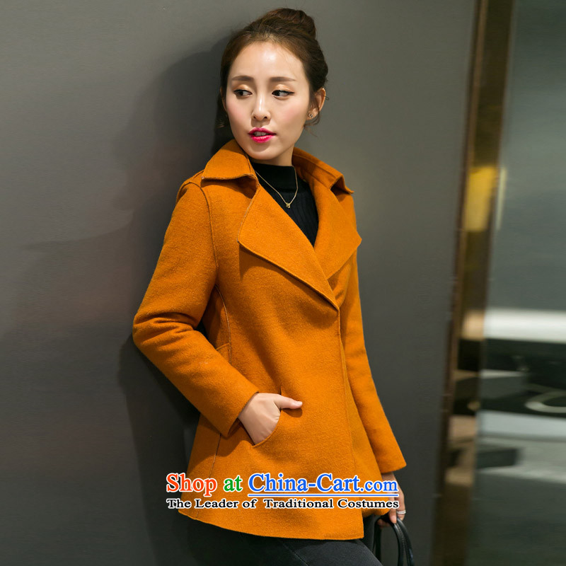 The autumn and winter new Korean female Sau San Mao? coats that long thin stylish a graphics jacket and color L 1718 Kim