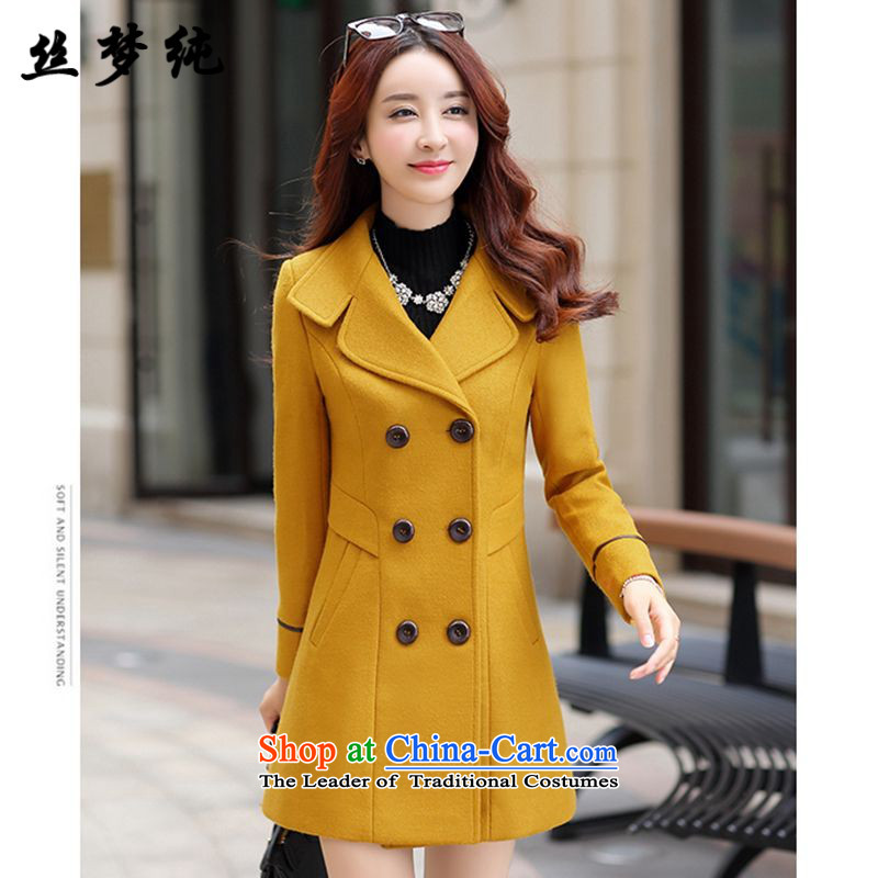The population of Pure wool coat women 2015? autumn and winter new Korean Sau San double-long jacket, yellow. L