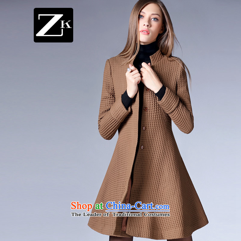 Zk Western women 2015 Fall_Winter Collections New Pure Color collar Foutune of gross?   Graphics thin coat girl at the time a wool coat and Color M