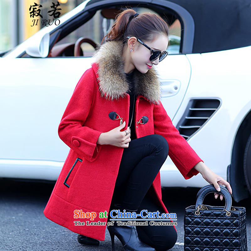 Lonely if gross? autumn and winter coats women 2015 replacing the new Korean version of Sau San double row is long wool coat 3150 7203 A RED M