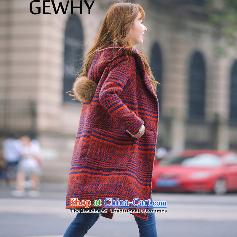 The new winter 2015 GEWHY Korean version in the thick of Sau San long hair? female jacket coat Orange Red燣