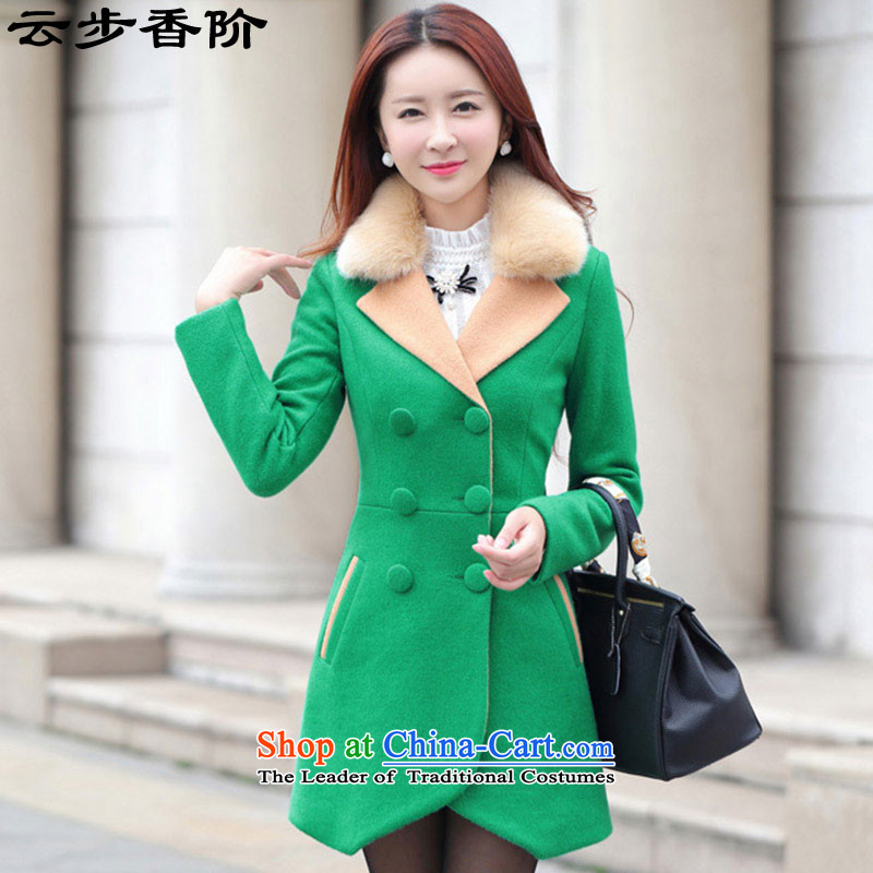 Step cloud of incense to the 2015 autumn and winter new Korean gross?_? long coats that sub-jacket women 9978 Green XL