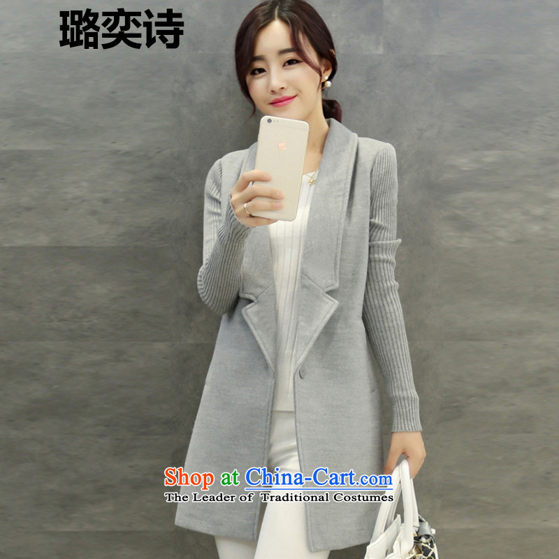 Xu Jialu Yik See�15 autumn and winter new women in Korean female long suit for coats a gross? female windbreaker jacket Gray燣
