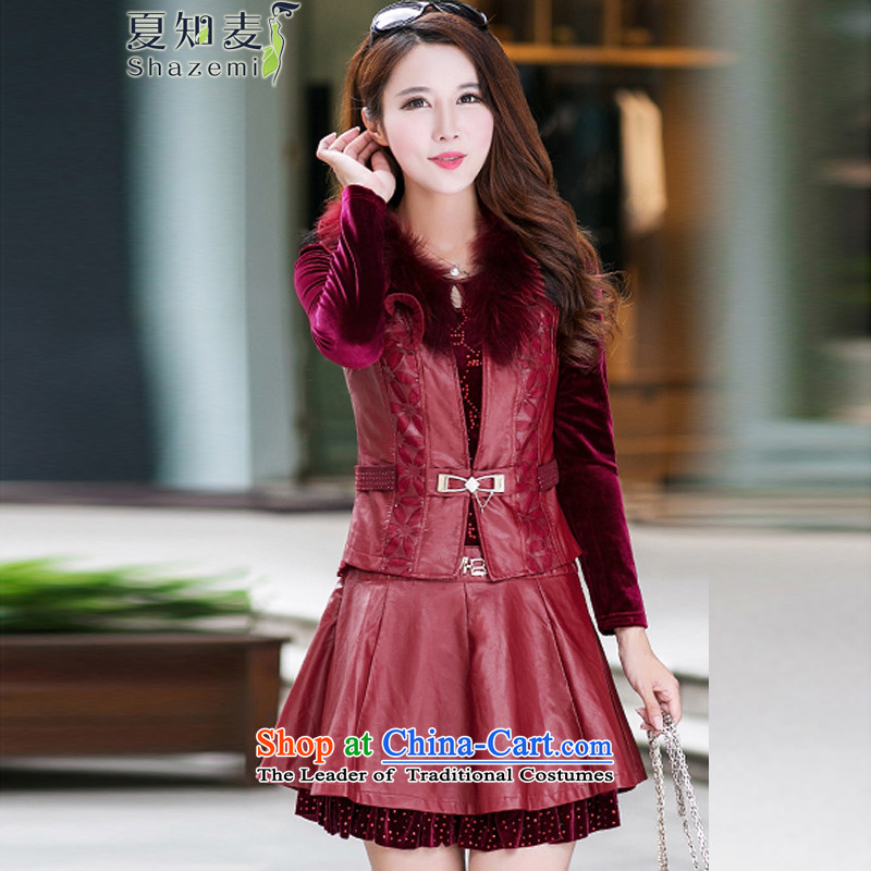 Mr Ronald know new video   2015 thin kit skirt large long-sleeved two kits pu skirt wear suits NR-8876 red _gross_ XXXL with collar