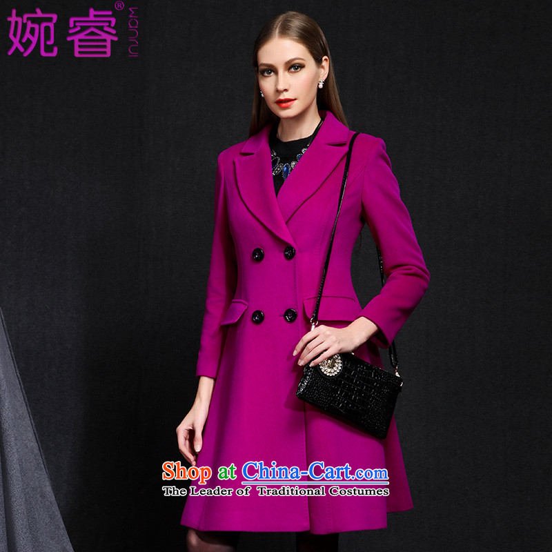 Yuen-core women 2015 winter clothing new stylish long-sleeved temperament, double-video in the thin long coats jacket girls gross? Mui purple XL