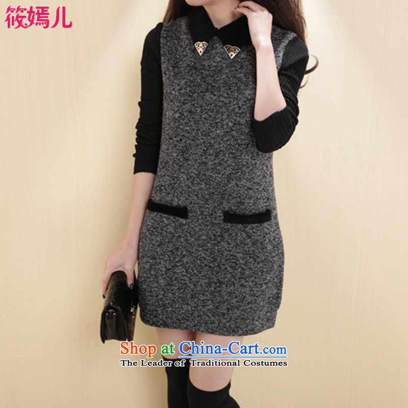 Shinu party-load new autumn 2015 Korean version of large numbers of ladies thick and long thin graphics MM Gross? dresses 0617 gray燲L