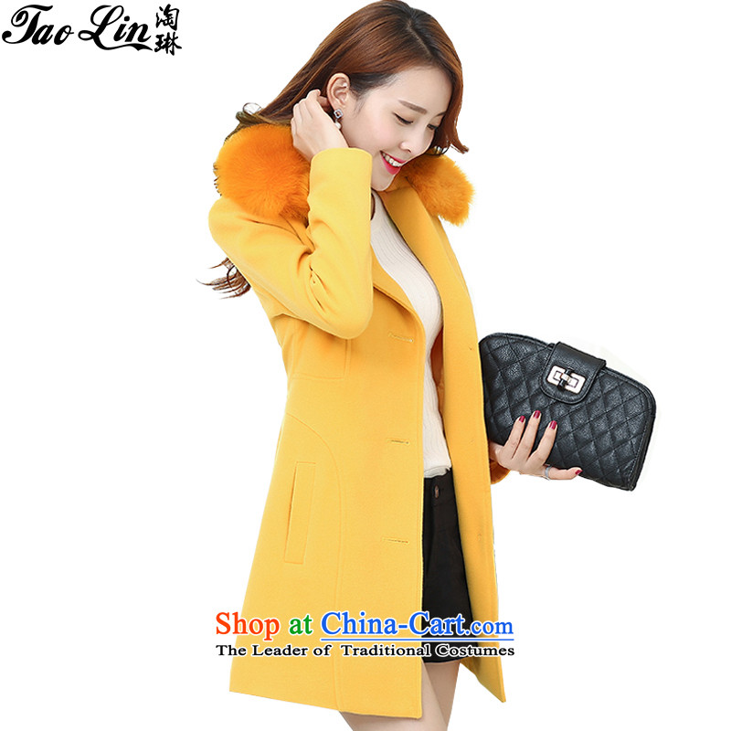 2015 New Nagymaros collar gross? Version Korean female jacket long coats of Sau San Ni-Yellow燲L