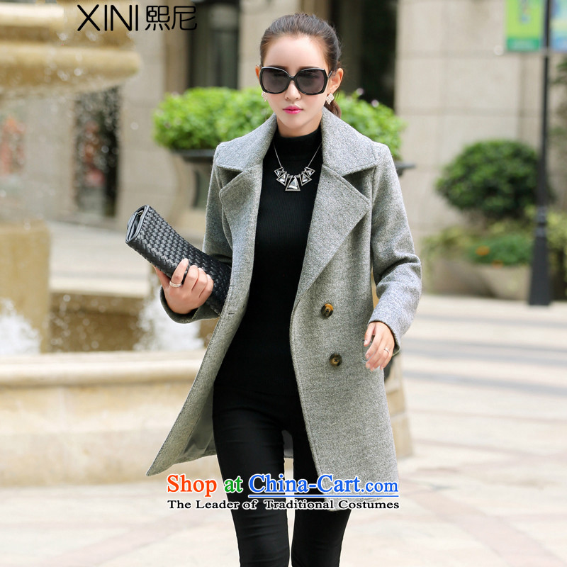 The 2015 autumn and winter-hee new Korean fashion OL commuter gross in women's coat? long jacket coat gross? gray燲L