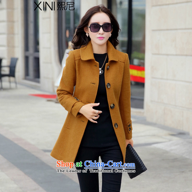 The 2015 autumn and winter-hee new women's who won version of large decorated in long wool coat and color coat??L